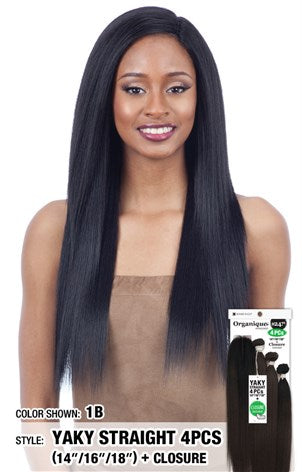 "Organique Yaky Straight 4 Pieces - (14""16""18""+Closure)"