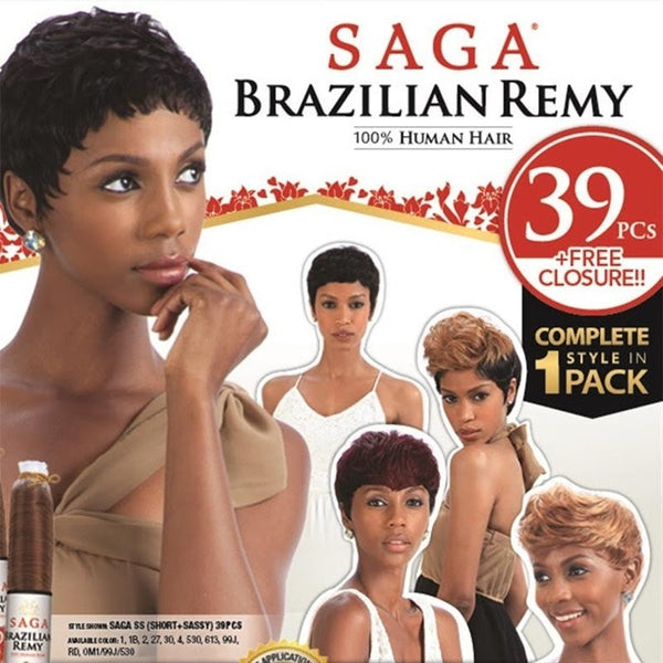 Saga Brazilian Remy Human Hair 39 Pieces