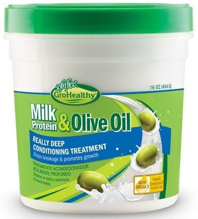Sofn'Free GroHealthy Milk Protein & Olive Oil Really Deep Conditioning Treatment (16 Oz) - Beauty Empire
