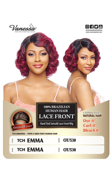 Vanessa 100% Unprocessed Brazilian Human Hair Hand-Tied Swissilk Top C-Side Lace Front Wig - TCH Emma