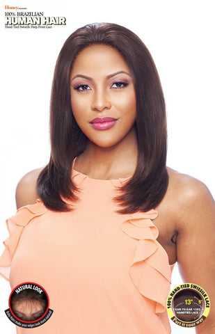 Vanessa Honey 13X5 Unprocessed 100% Brazilian Human Hair Hand-Tied Swissilk Deep Front Lace Front Wig - TH35NC Solina