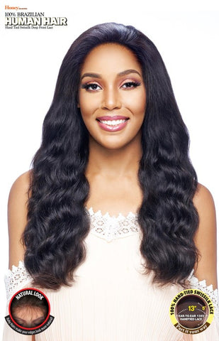 Vanessa Honey 13X5 Unprocessed 100% Brazilian Human Hair Hand-Tied Swissilk Deep Front Lace Front Wig - TH35NC Makena