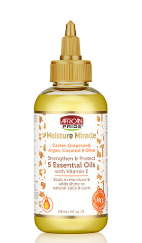 African Pride Moisture Miracle Castor, Grapeseed, Argan, Coconut & Olive Strengthen & Protect 5 Essential Oils With Vitamin E - 4oz - Beauty Empire