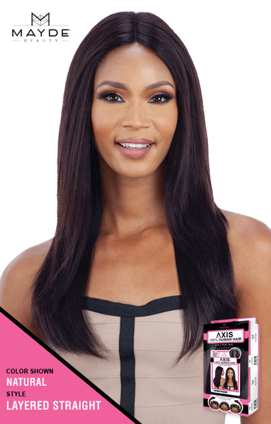 Mayde Beauty Axis 100% Human Hair Lace Front Wig - Layered Straight - Beauty Empire