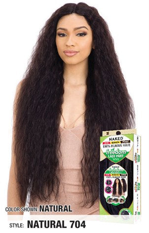 Shake N Go Naked 100% Human Hair 5 Inch Freedom Lace Part Wig - Natural 704