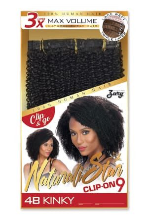 Zury Naturali Star Clip On 9 Pieces - 4B Kinky - Beauty Empire