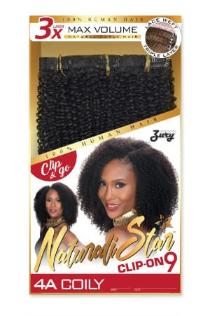 Zury Naturali Star Clip On 9 Pieces - 4A Coily - Beauty Empire