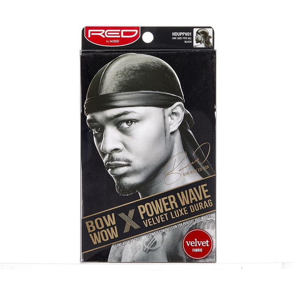 Red By Kiss Bow Wow Power Wave Velvet Luxe Durag - HDUPPV01 Black