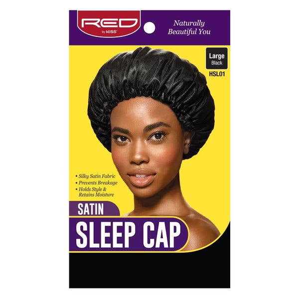 Red By Kiss Satin Sleep Cap - HSL01 Large Black