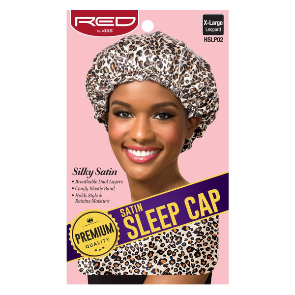 Red By Kiss Premium Satin Sleep Cap - HSLP02 Extra Large Leopard