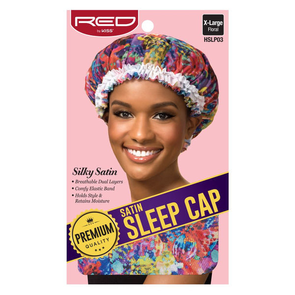 Red By Kiss Premium Satin Sleep Cap - HSLP03 Extra Large Floral