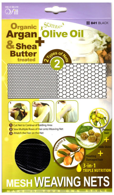 Qfitt Organic Argan & Shea Butter Treated + Olive Oil Scented Mesh Weaving Nets - 841 Black - Beauty Empire