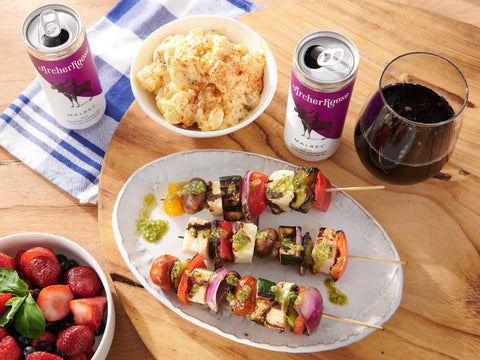 Grilled Halloumi and Malbec Skewers
