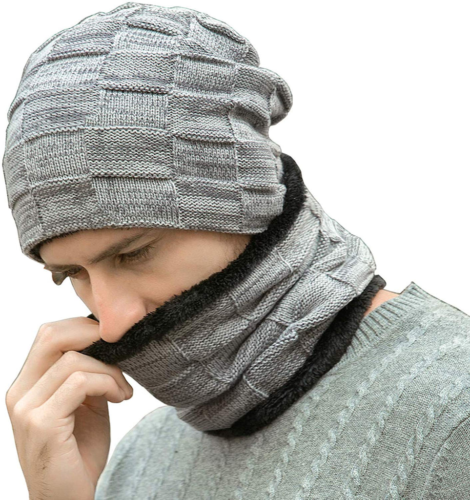Outdoor Winter Sport Beanie Hat Scarf Set Skiing Skating Knitted Cap Neck Warmer