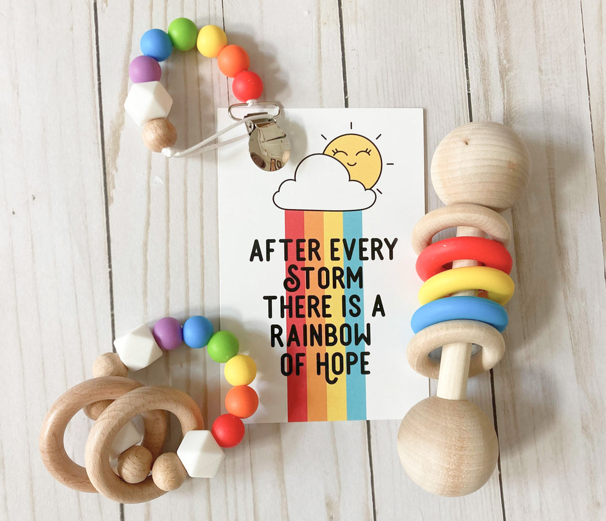 Rainbow baby gift set, rainbow after the storm