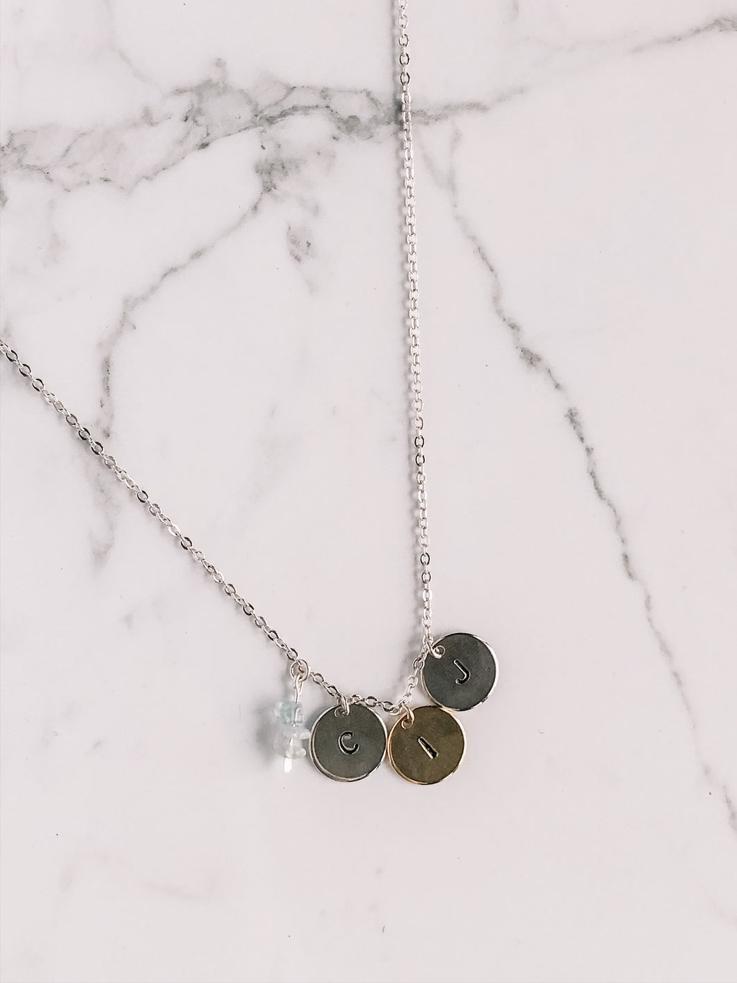Hand stamped initial coin necklace //