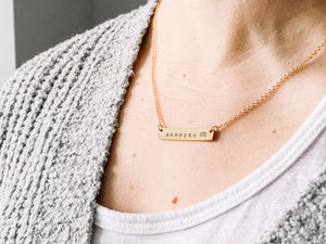 Namaste hand stamped bar layering necklace //