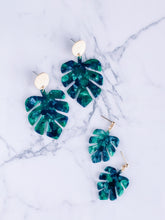 Load image into Gallery viewer, Tortoise shell acrylic monstera earrings //