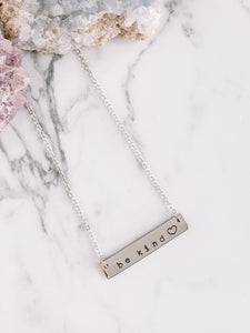 Be kind ♥️ hand stamped bar layering necklace //