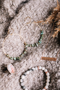 Wire wrapped African turquoise hoops //