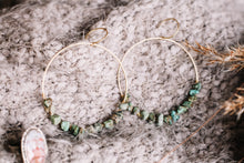 Load image into Gallery viewer, Wire wrapped African turquoise hoops //