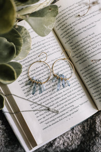 Wire wrapped crystal hoop earrings //