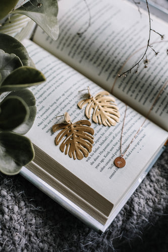 Brass monstera drop earrings v.2 //
