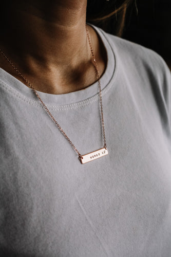 Woman up hand stamped bar layering necklace //