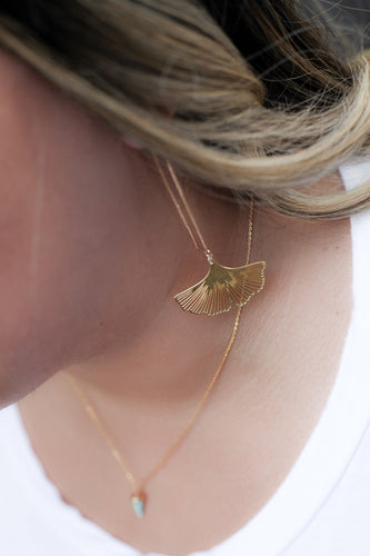 Ginkgo leaf threader earrings //