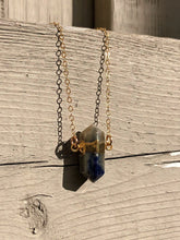 Load image into Gallery viewer, Gold electroplated sodalite pendulum necklace //