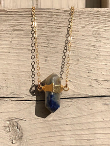 Gold electroplated sodalite pendulum necklace //