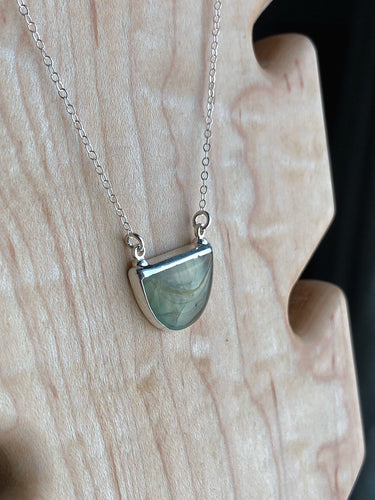 Prehnite silver electroplated crystal necklace //