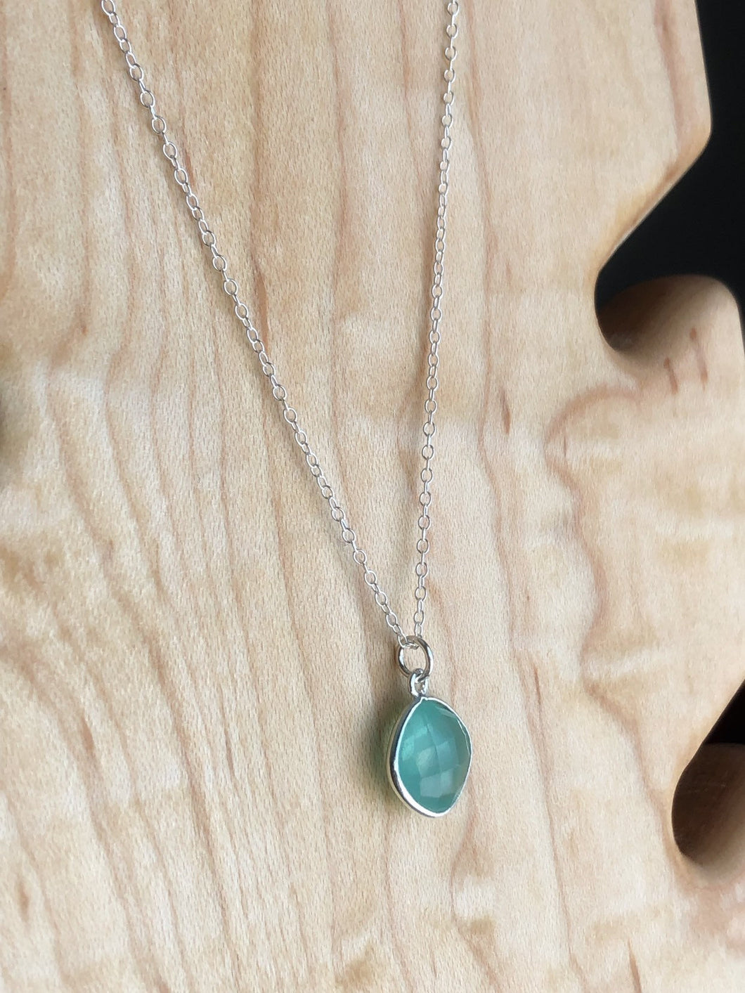 Blue chalcedony sterling silver necklace //