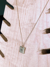 Load image into Gallery viewer, Hand stamped initial square charm necklace //
