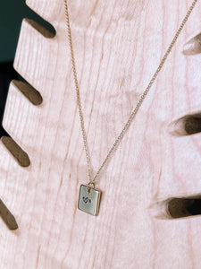 Hand stamped initial square charm necklace //