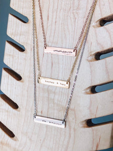 Booked & busy hand stamped bar layering necklace //