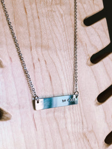 Pronouns hand stamped bar layering necklace //