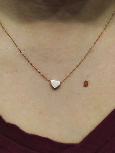 Hand stamped initial heart necklace //
