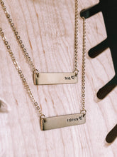 Load image into Gallery viewer, Hand stamped best friends bar layering necklace //