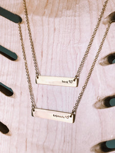 Hand stamped best friends bar layering necklace //