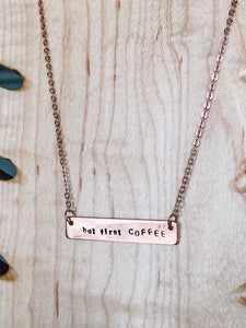 But first, COFFEE hand stamped bar layering necklace //