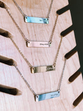 Load image into Gallery viewer, Pronouns hand stamped bar layering necklace //