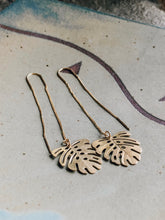 Load image into Gallery viewer, Gold monstera threader earrings v. 1 //