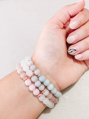 Icy gemstone bracelet stack //