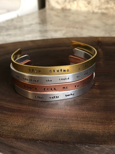 Hand stamped bangle //
