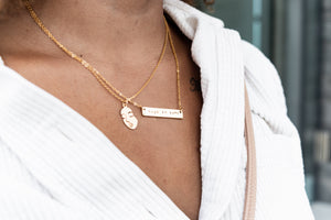 Fuck politeness hand stamped bar layering necklace //
