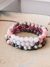 Load image into Gallery viewer, Pink and grey gemstone bracelet stack //