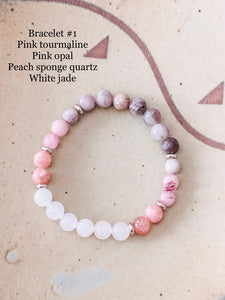 Pink and grey gemstone bracelet stack //