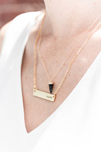 Unfuckwithable hand stamped bar layering necklace //