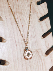 Gold compass & labradorite layering necklace //